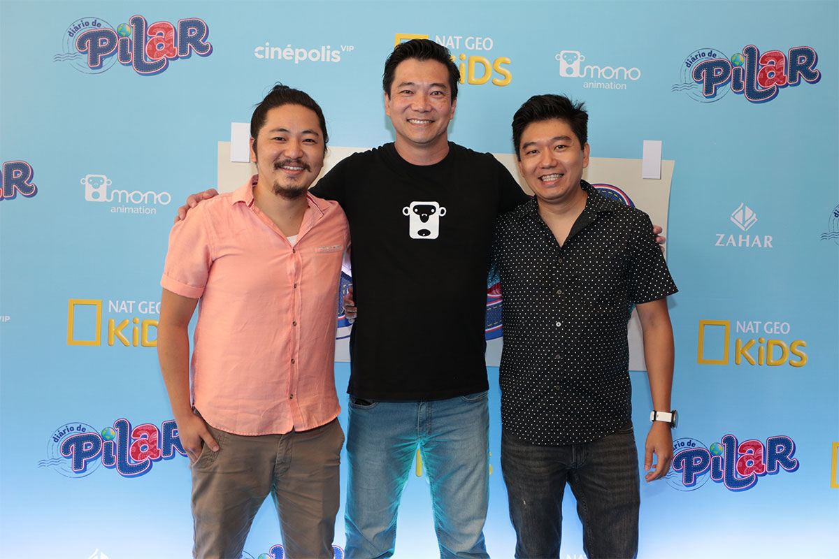 Os diretores de produção da Mono Animation, da esquerda para direita: Bruno Bask, Eduardo Nakamura e Rui Okusako na pré-estreia de Diário de Pilar, a série.