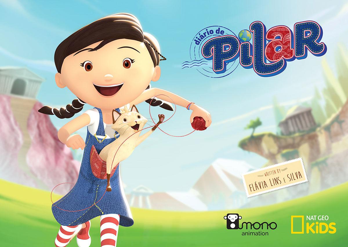 Capa Diario de Pilar, com personagem ao centro e logos Nat Geo Kids, Mono Animation e Diário de Pilar, a série.
