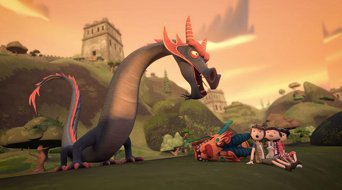 Personagens de Pilar com imenso dragão chinês