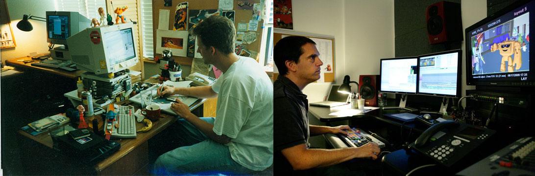 (à esquerda) O animador Pete Docter trabalhando em Toy Story (Pixar, 1995), e o diretor Lee Unkrich trabalhando em uma cena de Toy Story 3 (2010) (à direita).